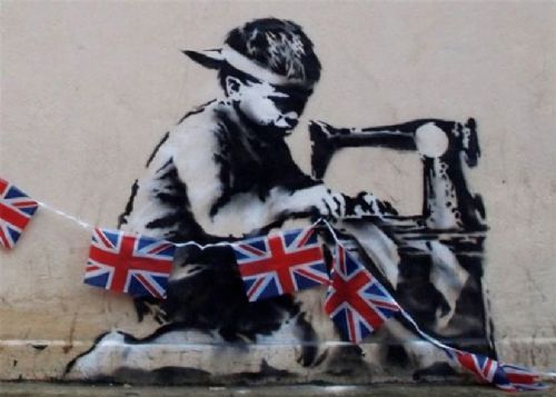 BANKSY - CHILD LABOUR UK canvas print - self adhesive poster - photo print